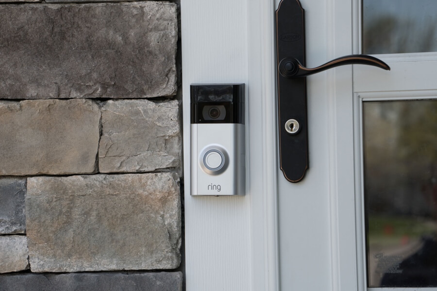 can you install a ring doorbell without drilling article image - image showing ring doorbell installed on a upvc doorframe