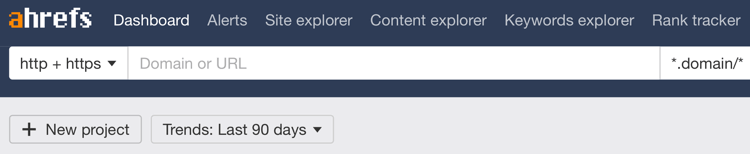 image of the ahrefs toolbar for seo