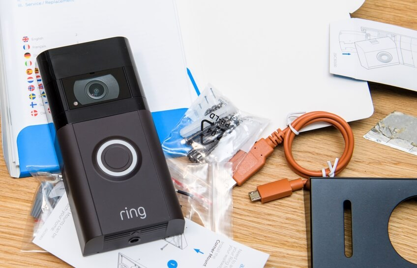 image showing the fixings that come with a ring doorbell that require drilling