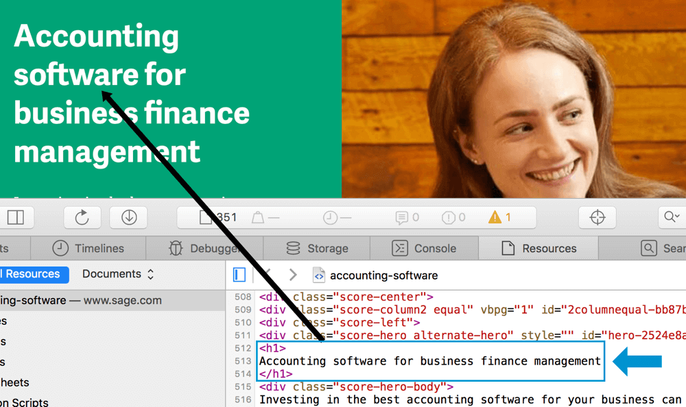 an example of keyword usage in the h1 header tag for seo