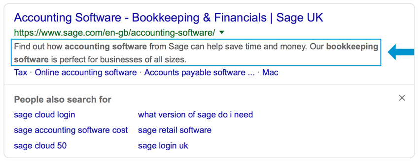an example of using keywords in the meta description of an article