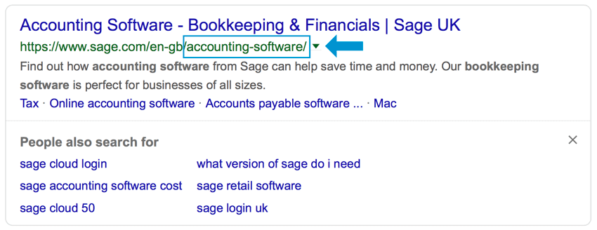 an example of keyword usage in the url for seo