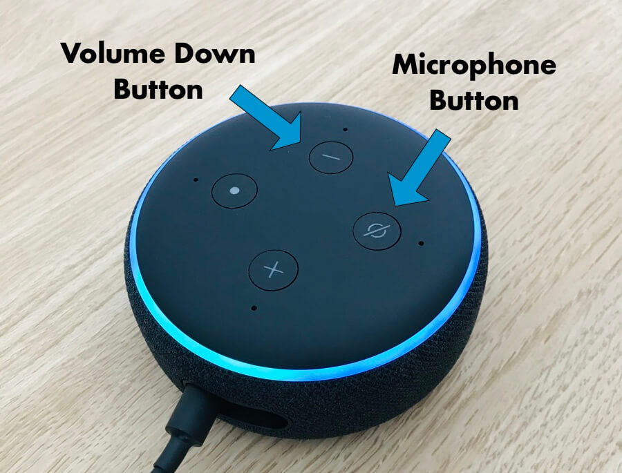 can you use alexa to spy on someone article image - image showing the microphone button on an amazon echo device