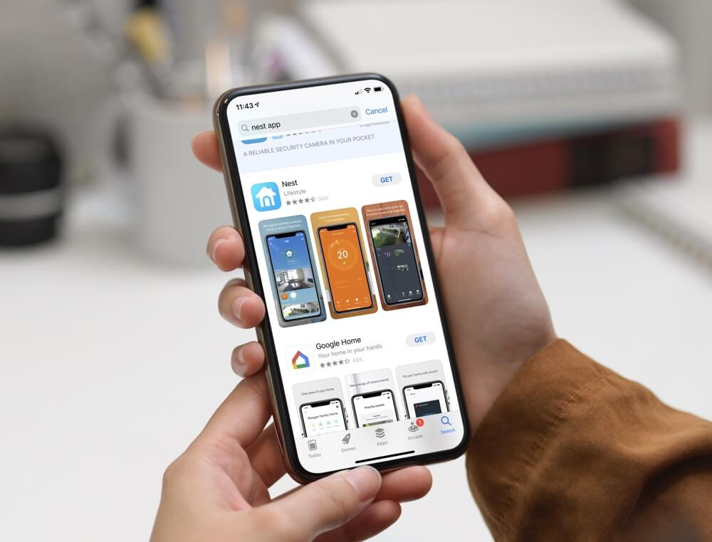 an image showing the nest app in the app store on a smartphone