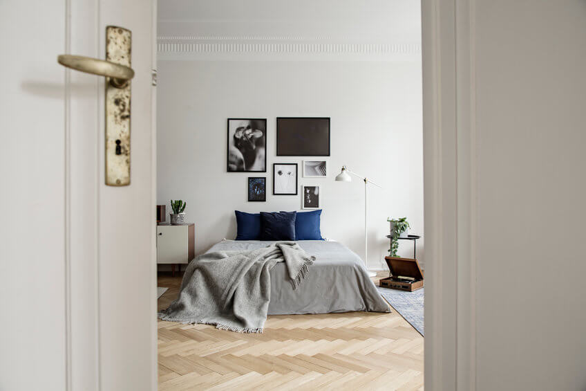 an image showing a stylish herringbone floor installed in a home